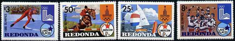 Antigua - Redonda 1980 Lake Placid Winter Olympics Perf set of 4 unmounted mint*