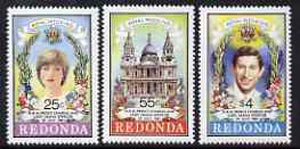 Antigua - Redonda 1981 Royal Wedding Perf set of 3 unmounted mint*, stamps on royalty, stamps on diana, stamps on charles, stamps on