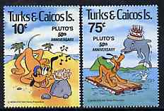 Turks & Caicos Islands 1981 50th Anniversary of Walt Disney's Pluto set of 2, SG 640-41 unmounted mint*