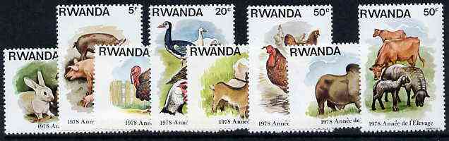 Rwanda 1978 Stock Rearing Year - Farm Animals set of 8 unmounted mint, SG 903-10*, stamps on animals   goats   geese    ducks     oxen     sheep   ovine     bovine     pigs