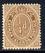 Cayman Islands 1908-9 1/4d brown appears to be unmounted mint, SG 38