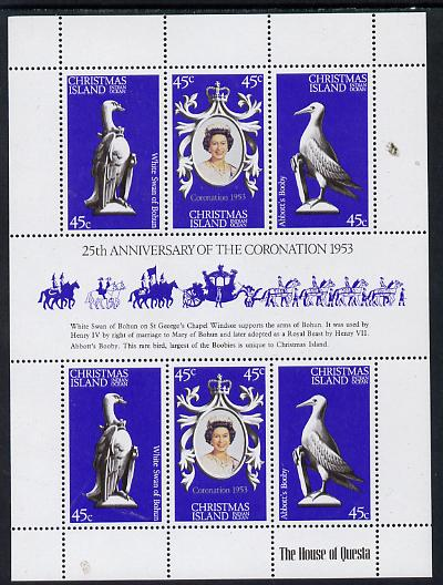 Christmas Island 1978 Coronation 25th Anniversary sheetlet (QEII, Swan & Booby) SG 96a unmounted mint