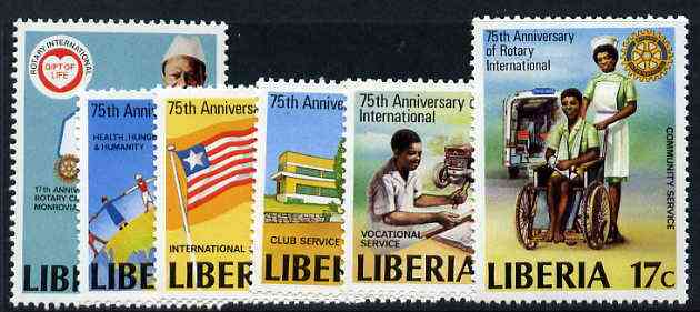 Liberia 1979 75th Anniversary of Rotary International Perf set of 6 unmounted mint, SG 1442-47*