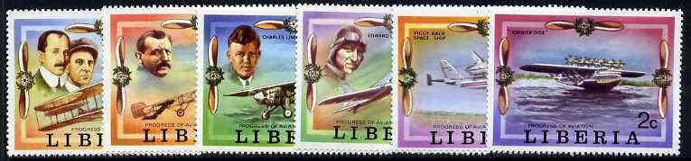 Liberia 1978 Progress in Aviation perf set of 6 unmounted mint, SG 1327-32*