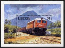 Liberia 1994 Locomotives $1 m/sheet (Bong Mining Co Diesel Loco hauling Iron Ore) unmounted mint