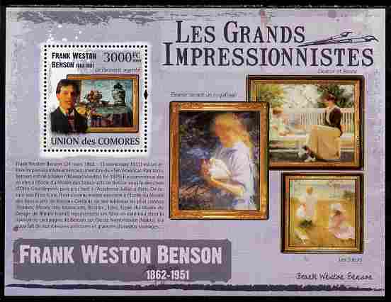 Comoro Islands 2009 The Impressionists - Frank Weston Benson perf souvenir sheet unmounted mint
