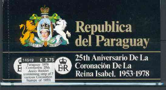 Booklet - Paraguay 1978 Coronation 25th Anniversary Booklet (containing strip of 7 various Coronation Stamps of 1953)