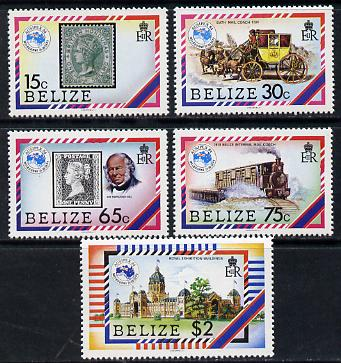 Belize 1984 'Ausipex' Stamp Exhibition set of 5 (SG 793-7) unmounted mint
