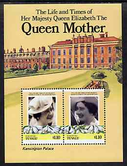 Tuvalu - Nukufetau 1985 Life & Times of HM Queen Mother (Leaders of the World) m/sheet showing Kensington Palace unmounted mint