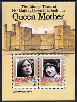 Tuvalu - Vaitupu 1985 Life & Times of HM Queen Mother (Leaders of the World) m/sheet showing Caernarvon Castle unmounted mint