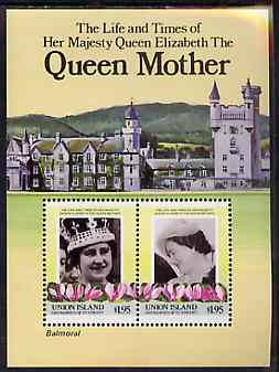 St Vincent - Union Island 1985 Life & Times of HM Queen Mother (Leaders of the World) m/sheet showing Balmoral unmounted mint