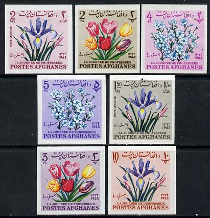 Afghanistan 1964 Flowers imperf set of 7 unmounted mint