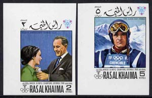 Ras Al Khaima 1968 Grenoble Winter Olympics imperf set of 2 unmounted mint,, Mi 345B-346B