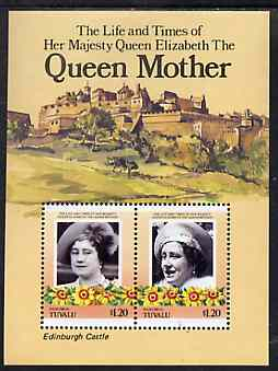 Tuvalu - Nanumea 1985 Life & Times of HM Queen Mother (Leaders of the World) m/sheet showing Edinburgh Castle unmounted mint