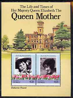 Tuvalu - Nanumaga 1985 Life & Times of HM Queen Mother (Leaders of the World) m/sheet showing Osborne House unmounted mint