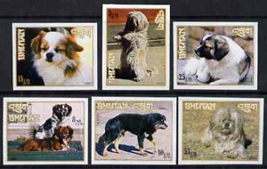 Bhutan 1972 Dogs imperf set of 6, as SG 270-75 unmounted mint