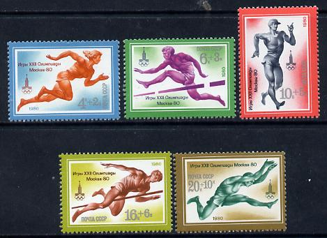 Russia 1980 Olympic Sports #7 (Athletics) set of 5 unmounted mint, SG 4962-66, Mi 4921-25*