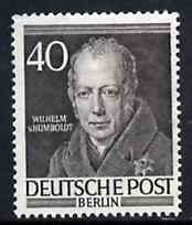 Germany - West Berlin 1952-54 Von Humboldt (Philologist) 40pf from Famous Berliners set unmounted mint, SG  B100