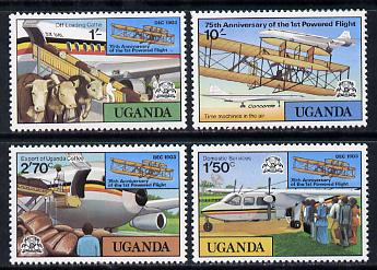 Uganda 1978 Powered Flight set of 4 unmounted mint SG 229-32, stamps on aviation     cattle    bovine    concorde    coffee    drink
