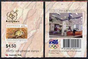 Booklet - Australia 1992 Threatened Species $4.50 self-adhesive booklet complete (without Olympic Draw flash, with Nat Philatelic Centre advert on back & Kuala Lumpur 92 on front) SG SB78avar