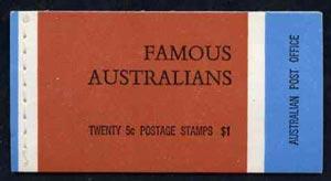 Booklet - Australia 1968 Famous Australians $1.00 booklet complete, SG SB44