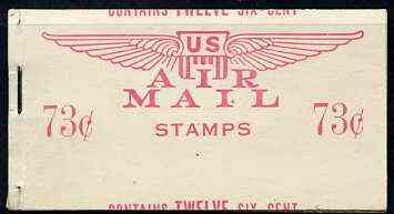 Booklet - United States 1949 73c Air Mail booklet containing 2 panes of 6 x 6c stapled at left with both panes and covers miscut (through centre of stamp) fine exhibition...