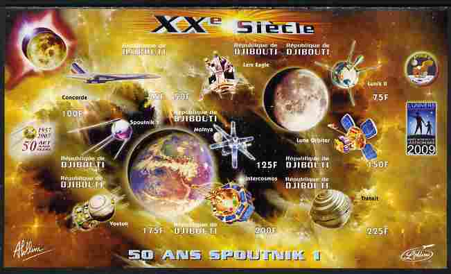 Djibouti 2009 50th Anniversary of Sputnik #03 imperf sheetlet containing 9 values unmounted mint