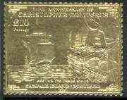 Easdale 1992 Columbus 500th Anniversary \A310 (Meeting The Trade Winds) embossed in 22k gold foil unmounted mint