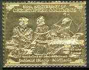 Easdale 1992 Columbus 500th Anniversary \A310 (Navigating by Dead Reckoning) embossed in 22k gold foil unmounted mint