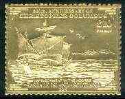 Easdale 1992 Columbus 500th Anniversary \A310 (Imprisonment in the Azores) embossed in 22k gold foil unmounted mint