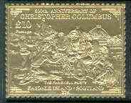 Easdale 1992 Columbus 500th Anniversary \A310 (The Farewell Party) embossed in 22k gold foil unmounted mint