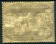 Easdale 1992 Columbus 500th Anniversary \A310 (Hispanic Settlement of Santo Domingo) embossed in 22k gold foil unmounted mint