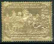 Easdale 1992 Columbus 500th Anniversary \A310 (The First Meeting Between the Old & The New World) embossed in 22k gold foil unmounted mint