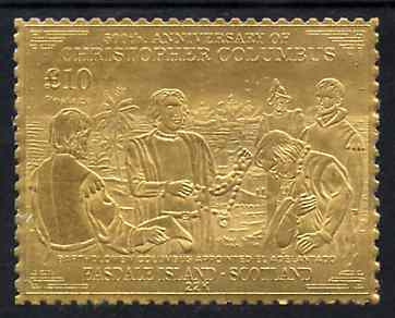 Easdale 1992 Columbus 500th Anniversary \A310 (Bartholomew Columbus Appointed  El Adelantado) embossed in 22k gold foil unmounted mint