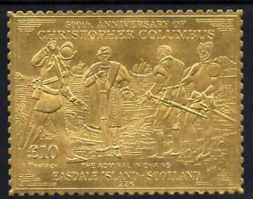 Easdale 1992 Columbus 500th Anniversary \A310 (The Admiral in Chains) embossed in 22k gold foil unmounted mint