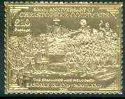 Easdale 1992 Columbus 500th Anniversary \A310 (The Spaniards are Welcomed) embossed in 22k gold foil unmounted mint