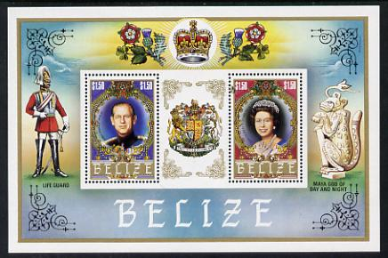 Belize 1984 House of Tudor m/sheet showing the Queen & Prince Philip unmounted mint (SG MS 805)