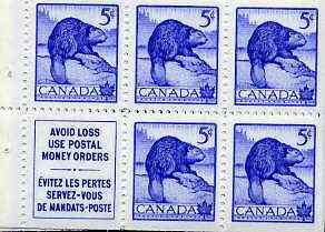 Booklet - Canada 1954 Beaver 5c blue unmounted mint booklet pane (5 stamps plus label) SG 473a