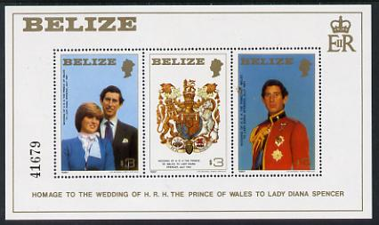 Belize 1981 Royal Wedding m/sheet unmounted mint (SG MS 620), stamps on royalty, stamps on diana, stamps on charles, stamps on