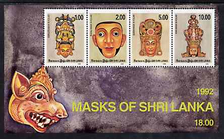 Sri Lanka 1992 Kolam Dance Masks m/sheet containing set of 4 unmounted mint, SG MS 1206