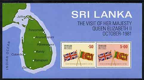 Sri Lanka 1981 Royal Visit m/sheet containing set of 2 unmounted mint, SG MS 744