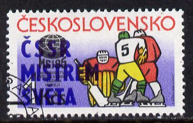 Czechoslovakia 1985 Ice Hockey with victory overprint fine cto used, SG 2784