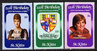St Kitts 1982 Prince William set of 3 (SG 98-100) unmounted mint