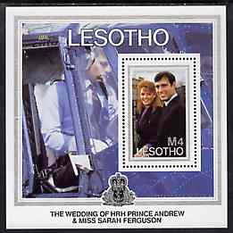 Lesotho 1986 Royal Wedding m/sheet (Andrew in Helicopter) unmounted mint SG MS 739