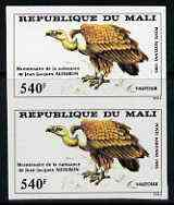 Mali 1985 John Audubon 540f Griffon unmounted mint IMPERF pair from limited printing (as SG 1076)