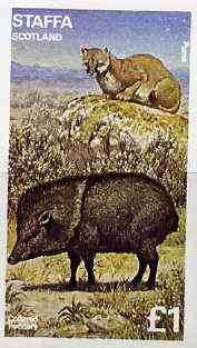 Staffa 1977 Wild Animals (Puma & Peccary) imperf souvenir sheet (�1 value) unmounted mint