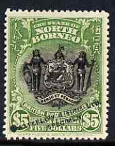 North Borneo 1911 Printers sample of $5 Arms in black & green opt'd 'Waterlow & Sons Specimen' with small security punch hole on ungummed paper (as SG 182)