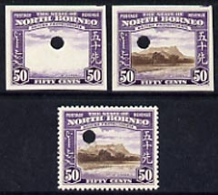 North Borneo 1939 Mt Kinabalu 50c def imperf proof of frame plus perf & imperf of composite, all in issued colours on gummed paper with security punch hole, very fine wit...