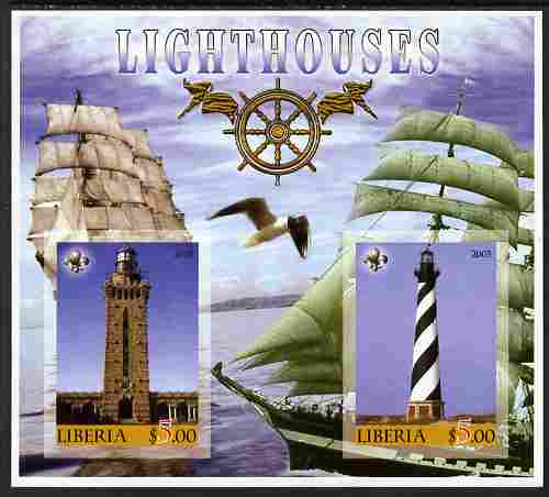 Liberia 2005 Lighthouses imperf sheetlet containing 2 values unmounted mint