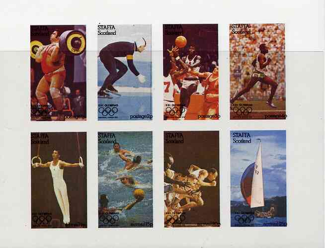 Staffa 1976 Montreal Olympic Games complete imperf set of 8 values unmounted mint